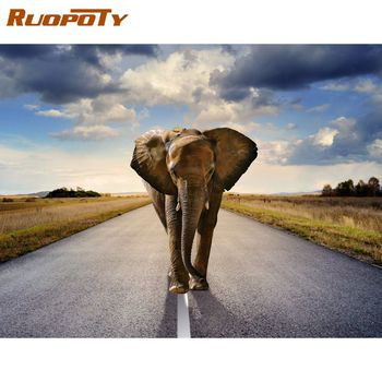 RUOPOTY  Frameless Painting By Numbers For Kids Elephant Animal Paints Kits Unique Gift Bedroom Wall Decor Coloring Artcraft