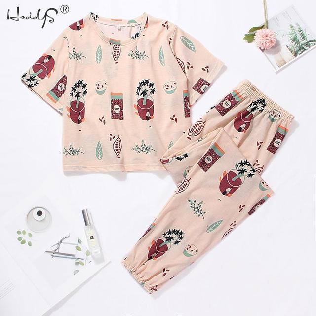 Cute Pajama Set With Short Sleeve Tee and Long Pants 2
