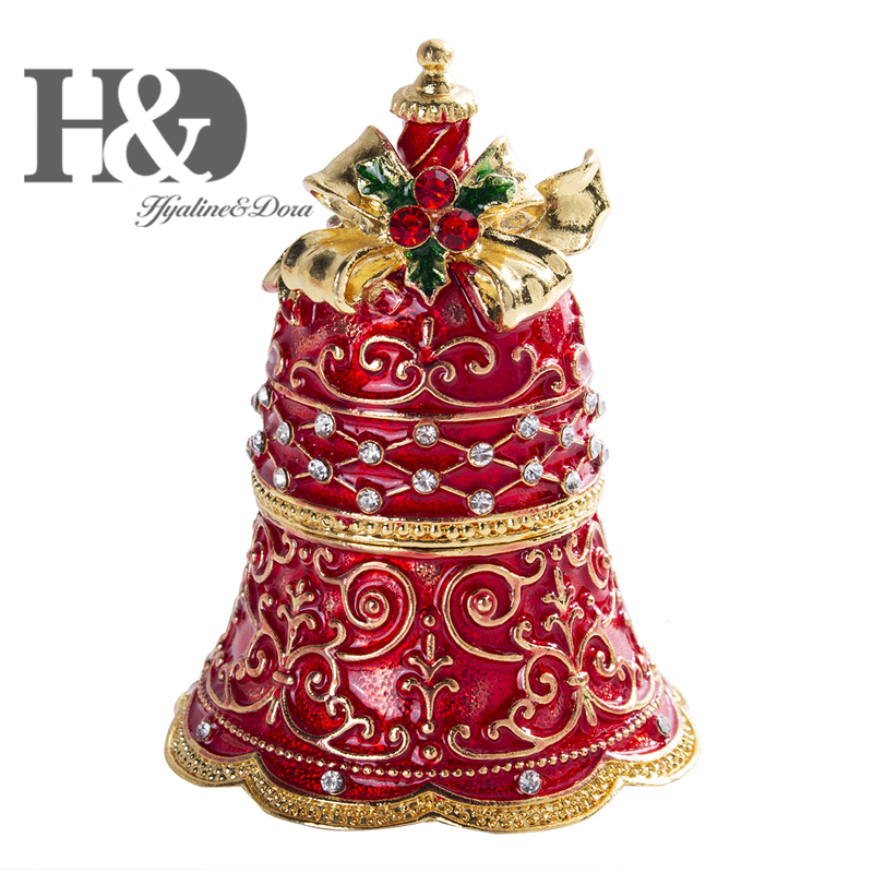 H&D Enameled and Bejeweled Jingle Bell Hand Painted Trinket Boxes Hinged Jewelry Ring Holder Xmas Gift Christmas Decor for Home|Figurines & Miniatures| |  - title=