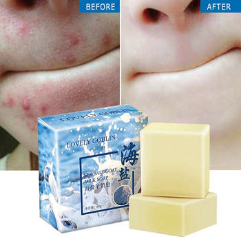 Sea Salt Soap Removal Pimple Pores Acne Treatment Cleaner Moisturizing Goat Milk Face Wash Soap Base Skin Care TSLM2