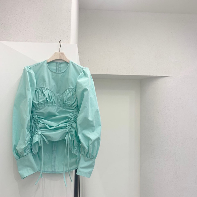 Korea 2020 Autumn New Irregular Drawstring Lace-up O Neck White Shirts Women New Design Fashion Women Blouses C200 2