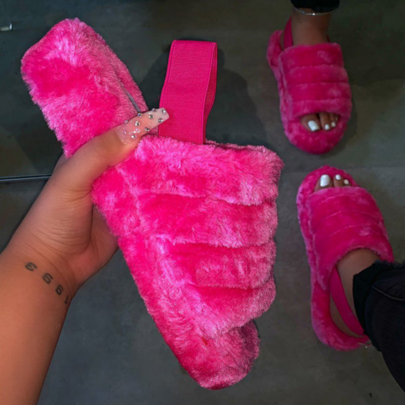 Indoor Slippers Women Fur Slides Leisure Ladies Home Shoes Comfortable Sandals Plush Slippers Flats Shoes Zapatos De Mujer 2020