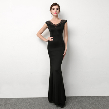 sexy Mermaid Long Evening Dress Party Elegant  v-neck Prom evening Gown contracted Slim fit Evening Dresses