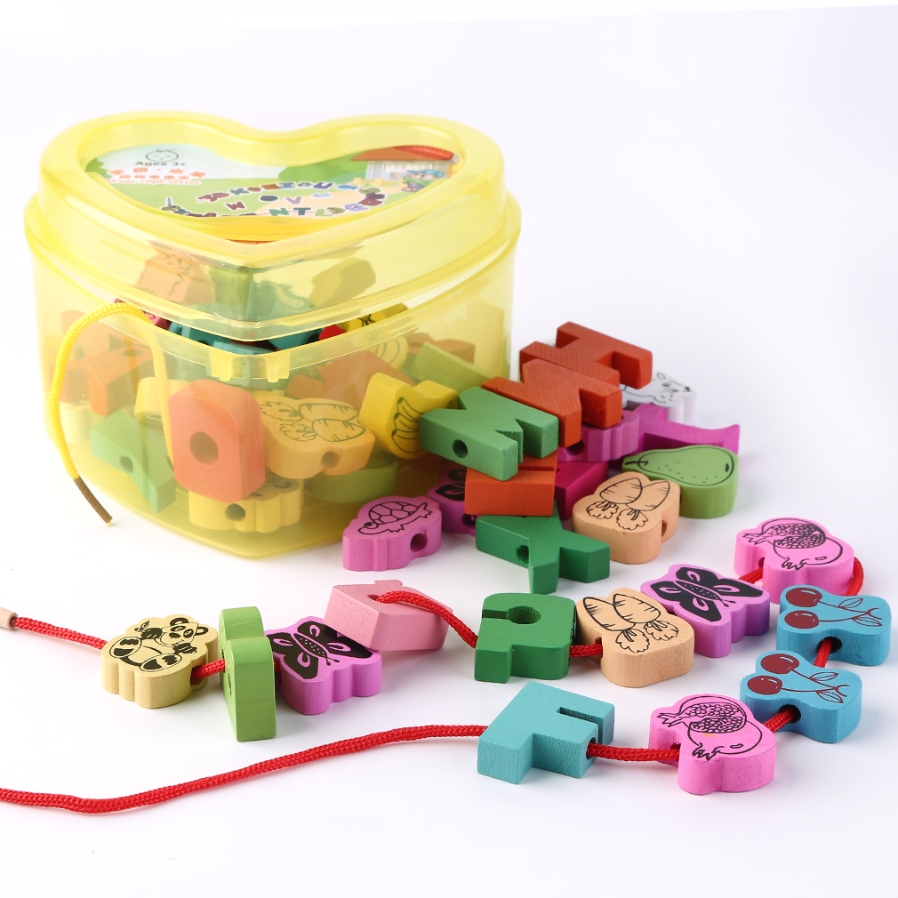 60pcs/lot Baby Montessori Educational Wooden Toys Animals Blocks Stringing Threading Lace Beads Box Preschool Learn Toy For Kids