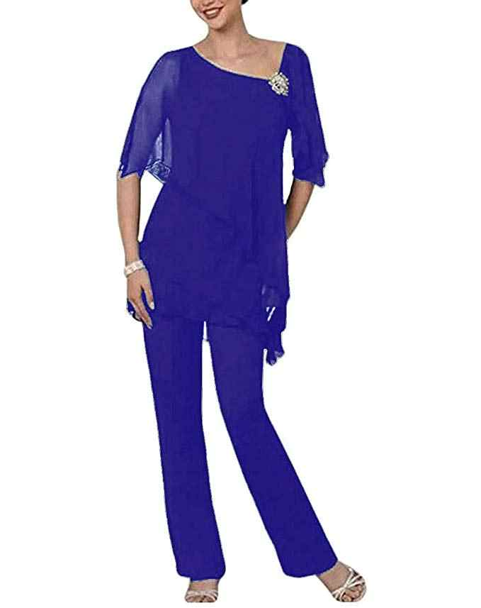 Mujer elegante azul menta púrpura Madre de la novia vestido pantalones traje 2 piezas cristal mangas cortas para boda