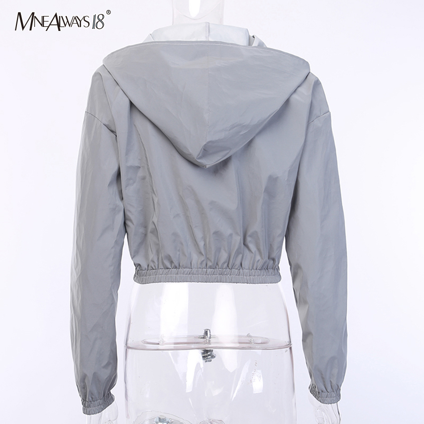 H94263e8349c844d2b9ed2c385c6eb242Z - Mnealways18 Reflective Jacket Hip Hop Streetwear Fashion Casual Hooded Coat Zippers Autumn Women Jackets Coats Girls Neon