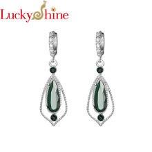 Luckyshine новые зеленые Кварцевые женские длинные висячие серьги