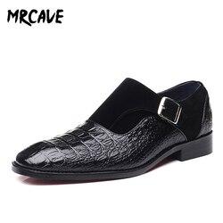 MRCAVE marca de lujo PU cuero moda hombres vestido de negocios mocasines zapatos negros puntiagudos Oxford transpirable Formal zapatos de boda