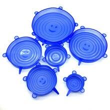 6 шт. Мягкая силиконовая крышка Универсальная силиконовая пищевая плёнка чаша, многоразовые прочные и расширяемые крышки, силиконовые чехлы для свежих продуктов
