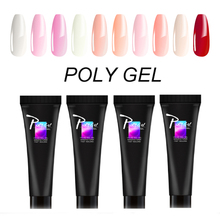 Ruhoya Acrylic UV LED PolyGel Clear Crystal Builder Gel Nail Art Pink White Poly Gel Slip Quick Extension Gel Tips Enhancement zwtale polygel nail art clear camouflage color nail tip form crystal uv gel nail polish led acrylic builder tips poly gel