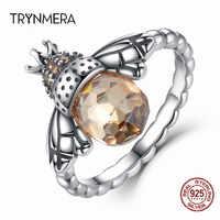 Trynmera 100% Authentische 925 Sterling SilverAnimal Bee Flügel Finger Ring für Frau Sterling Silber Schmuck Weihnachten TR108