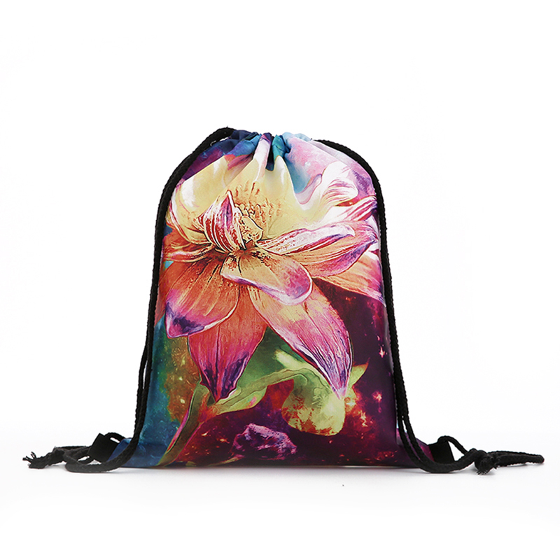 Backpack Drawstring Oil Painting BAGS Drawstring Fashion Printing Travel Softback Men Bags Unisex Women's Shoulder Flower New