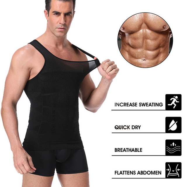 Майка мужская тренировочная с утягивающим эффектом для коррекции спины и живота для похудения 5