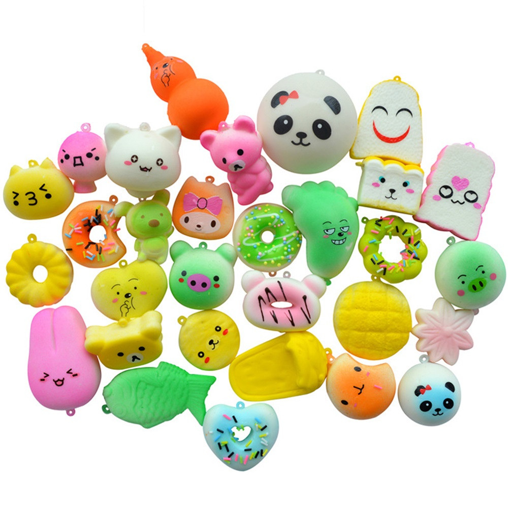 30 Sets Of Simulation Cartoon Slow Rebound Toys Squishy Slow Rising Doll Soft Cream Scented  Stress Relief Toy Key L107
