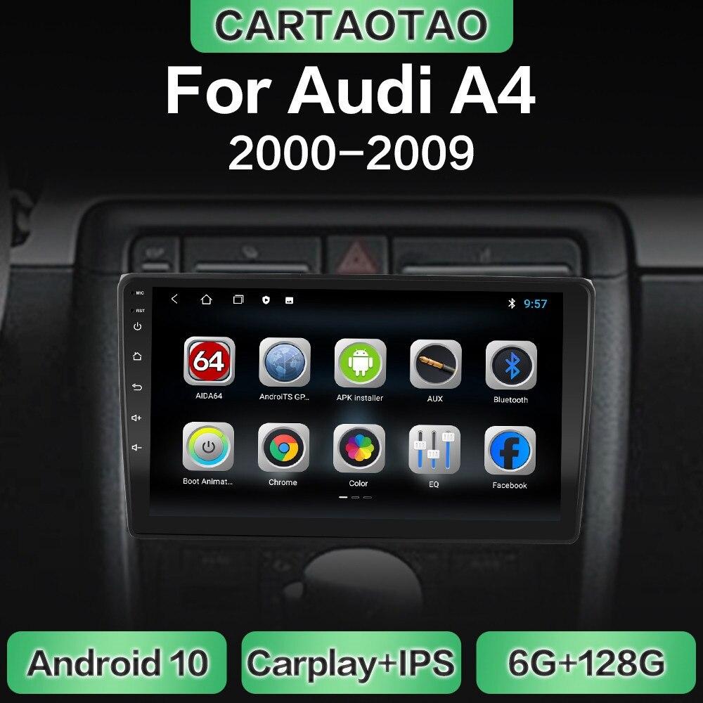 Автомагнитола на Android 10,0 с GPS-навигацией, Wi-Fi, мультимедийный плеер CarPlay для Audi A4 B6 2000-2009 S4 RS4 DSP RDS IPS, без DVD, 2din