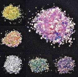 Mixed  PVC Glitter Crystal Epoxy Resin Mold DIY Filling Nail Art Decoration Shell Peach Heart Star Golden Crystal Sequins