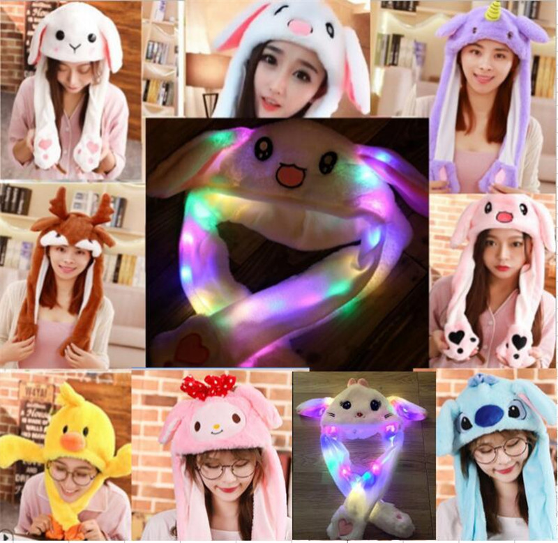 Cartoon LED Lights Moving Rabbit Ear Hat Stuffed Plush Dance Cap Unicorn Plush Toy Christmas Halloween Birthday Gift Kids Adult