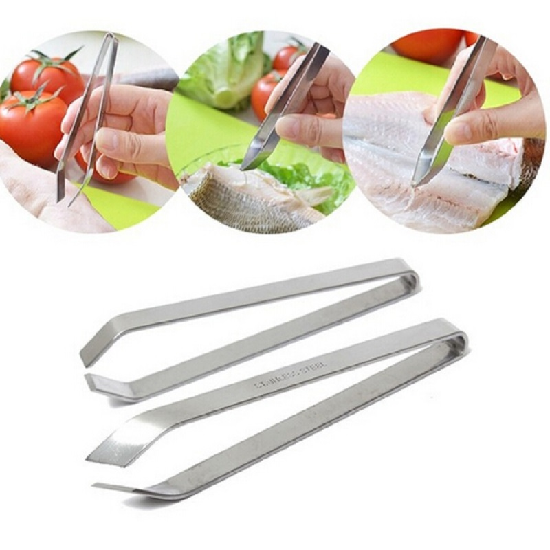 Hot Stainless Steel Tongs Metal Fish Hair Remover Kitchen Stubbs Fishbone Fur Bones Clip Tong Animal Pliers Barbecue Tongs|Tongs|   - title=
