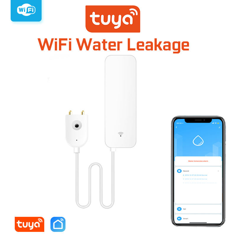 Tuya Wi-Fi Сигнализация утечки воды независимый Wifi датчик утечки воды детектор наводнения оповещение о переливании Охранная сигнализация сист...