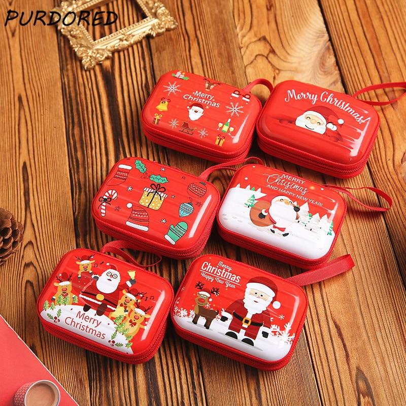 PURDORED  1 Pc Christmas Headphone Box Mini Tin Candy Box Christmas Coin Purse Earrings Storage Box Kids Xmas Tree Decoration