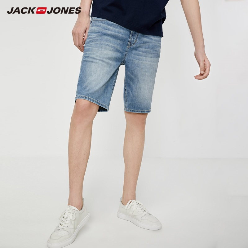JackJones Men's Slim Fit Stretch Cotton Whiskering Denim Shorts Basic| 219243522