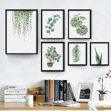 Northern Europe country-style green plant leaves indie combination of modern minimalist living room bedroom decorative painting