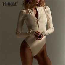 2019 Autumn Women Sexy V Neck Knitted Bodysuit Long Sleeve Buttons Rompers Casua