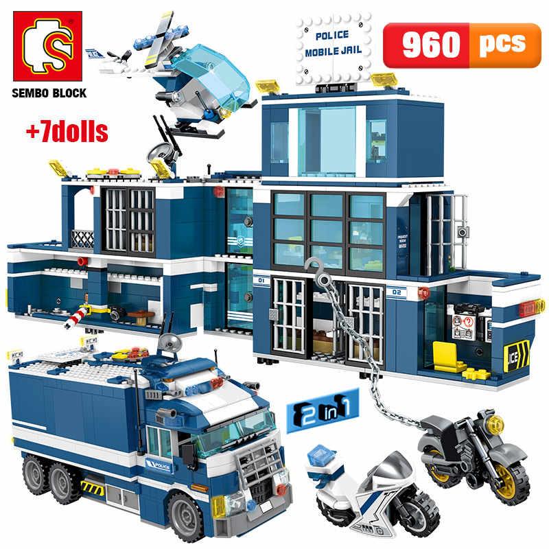 960PCS City Polizei Station Haus Auto Bausteine Technik SWAT Team Lkw Ziegel motorrad Pädagogisches Spielzeug für Kinder