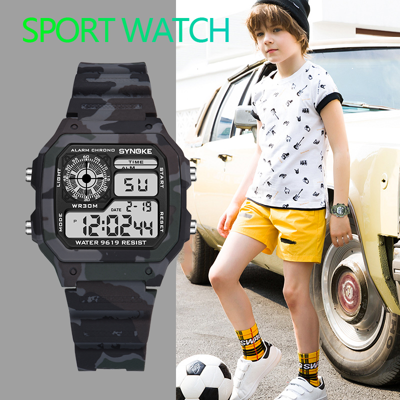 PANARS Children Kids Boys Camouflage Military Watch Led Sports Kids Watches Shock 50m Waterproof Colorful Luminous Dial Watches