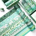 12/set Green Plant Washi Tape Solid Color Masking Tape Decorative Adhesive Tape Sticker Scrapbooking Diary Stationery Supply