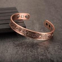 Vinterly viking pulseira homem puro cobre ampla saúde energia viking pulseira ajustável aberto manguito pulseiras de cobre para mulher