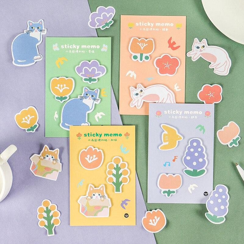 Mohamm 30PCS Small Garden Series Cute Animal Flower Seasons Message Sticky Note Memo Pad Kawaii Cartoon Students School Supplies