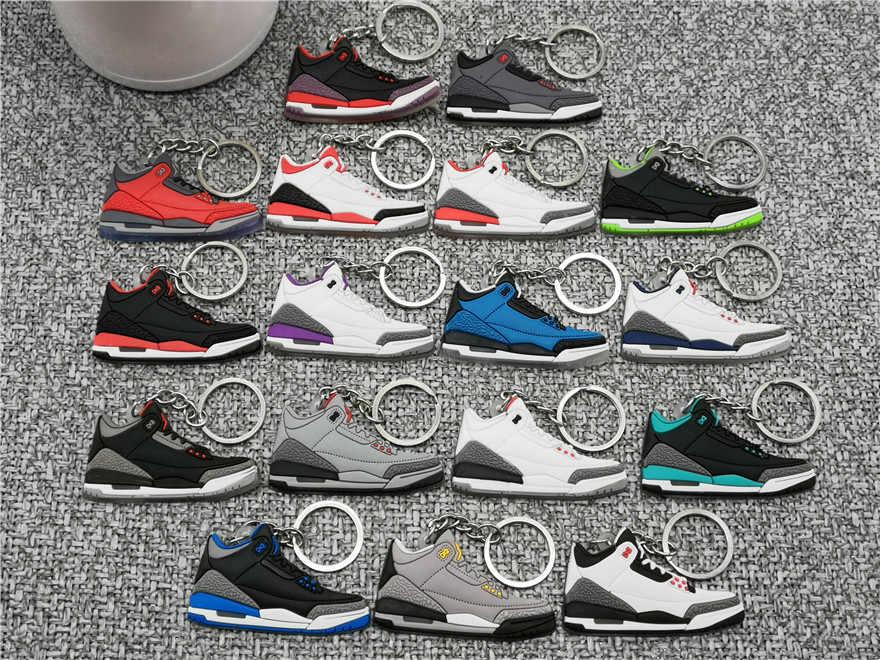 Nuevo Mini AJ llavero de zapatos de los hombres de la moda de las mujeres chico Jordan 3 anillo Retro regalo zapatilla de baloncesto clave de la cadena titular de la Porte Clef