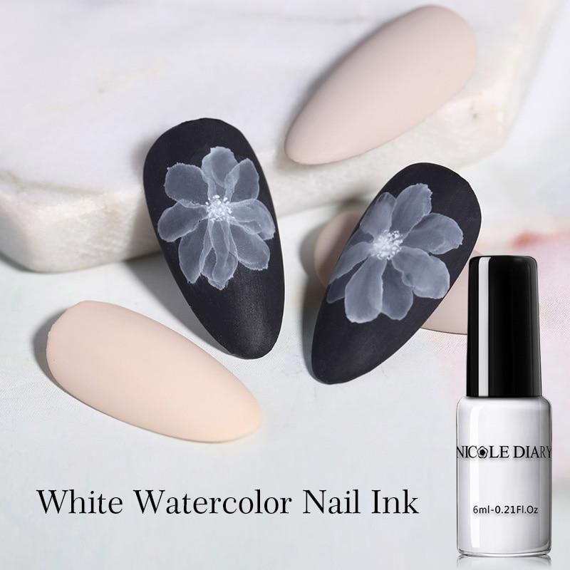 NICOLE DIARY Watercolor Ink Polish Blooming Nail Smoke Effect Magic Smudge Bubble DIY Varnish Manicuring Decoration Nail Salon