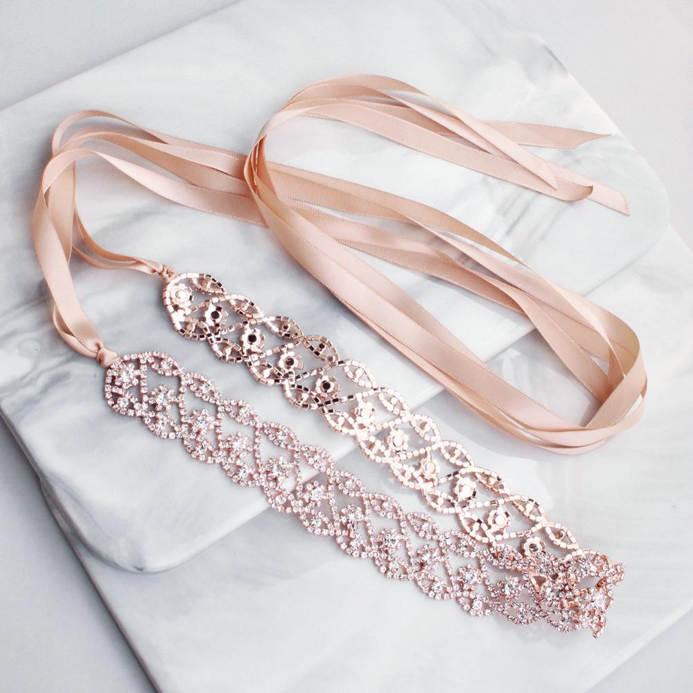 2019 Newest Rose Gold Wedding Belts And Sashes For Bride Girls Dress Sash Wedding Accessories Rhinestone Bridal Belts