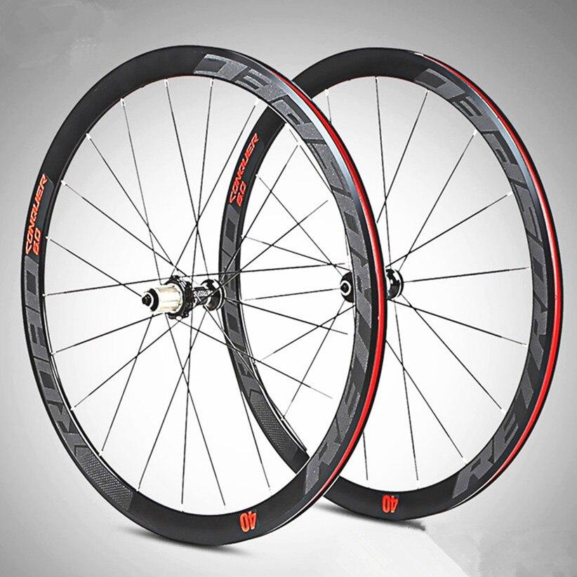 C6.0 700C vélo de route vélo Super-léger en alliage d'aluminium 4 PeiLin scellé roulement roues rayons plats jantes de course 40mm jeu de roues