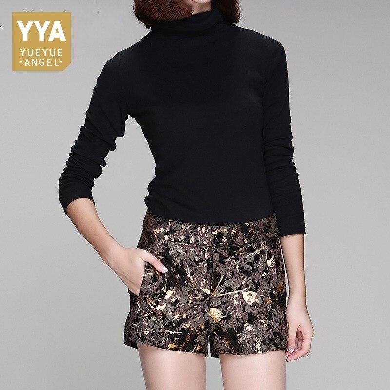 Korean Fashion Office Lady Print Floral Shorts Mid Waist Slim Fit Sheepskin Trouser Female Straight Autumn Real Leather Feminino