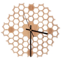 크리 에이 티브 대나무 벽 시계 간단한 현대 디자인 벌집 자연 나무 벽 시계 육각 벽 아트 시계 홈 장식 침묵