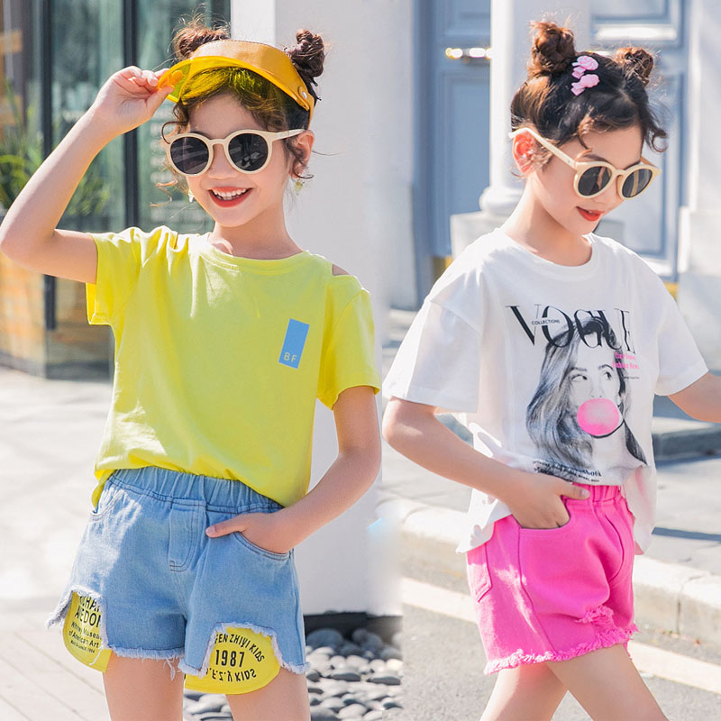 Summer Kids Tracksuit Print T shirt Ripped Jeans Shorts Set Teenage Girls Clothing Set Girls Clothes Child Costume 10 12 13 Year