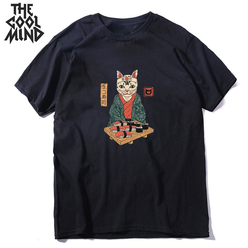 COOLMIND 100% Cotton Short Sleeve Japanese Cat Print Men T Shirt Casual Loose Men Tshirt O-neck T-shirt Men Tee Shirts Tops