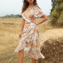 2020 New Medium Long Summer Print Dress Women Casual Ruffles V-neck Streetwear S