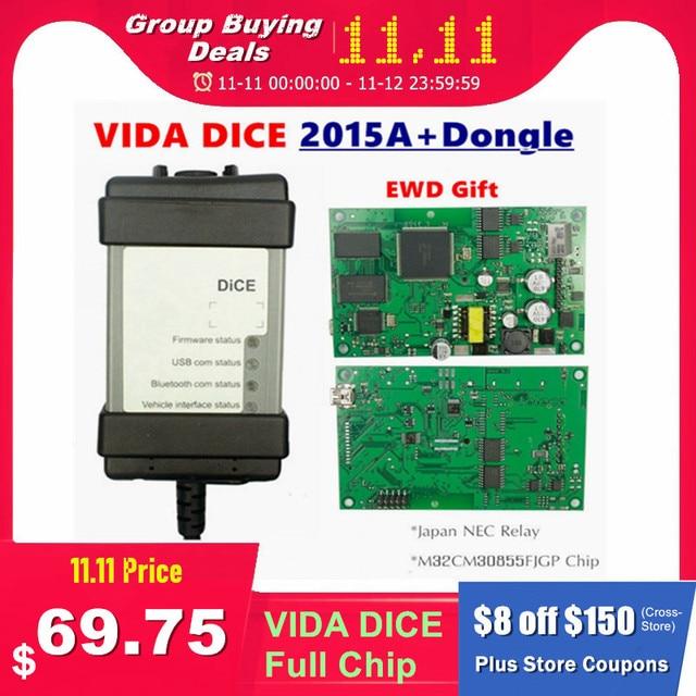 Nuovo 2015A + Dongle 1999 2019 Per VOLVO VIDA DADI 2014D Pieno di Chip Multi Language Verde PCB Origianal chip EWD Regalo