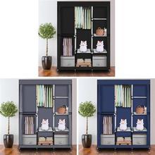 71 inch Portable Non-Woven Fabric Cover Clothes Closet Home Wardrobe Clothes Storage Organizer with Shelves