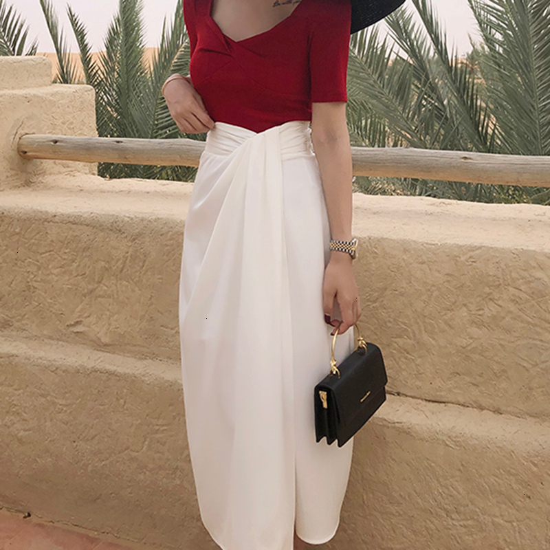Ultimate SaleTWOTWINSTYLE Skirt Women Asymmetrical Ruched Irregular Side-Split Vintage High-Waist
