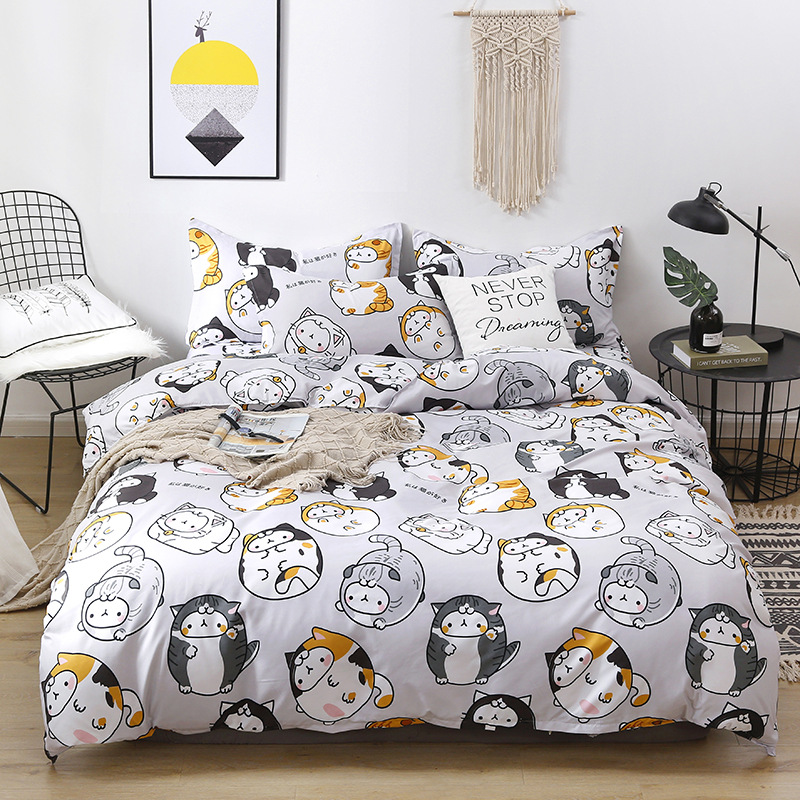 Denisroom Cartoon Cat Bed Linen Cute Bed Duvet Cover Set Girl Bed Sheets And Pillowcases White WD21#