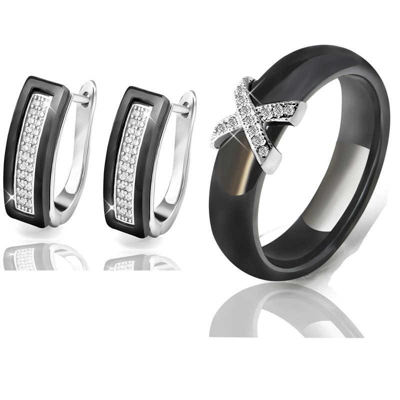 Tren 2020 Hitam Putih Stainless Steel Perhiasan Set Keramik untuk Wanita AAA Bling Kubik Zircon Cincin Anting-Anting Hadiah Natal