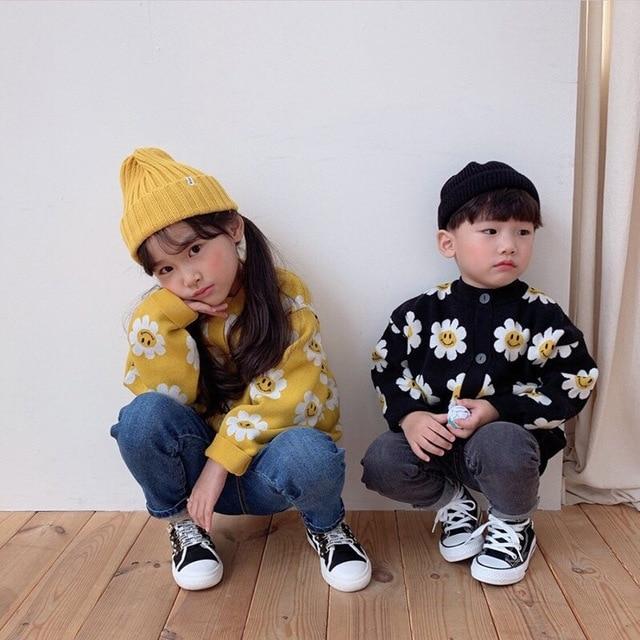 2020 Autumn New Arrival Girls Fashion Floral Sweaters Kids Korean Design Cardigans  Girl Cardigan 3