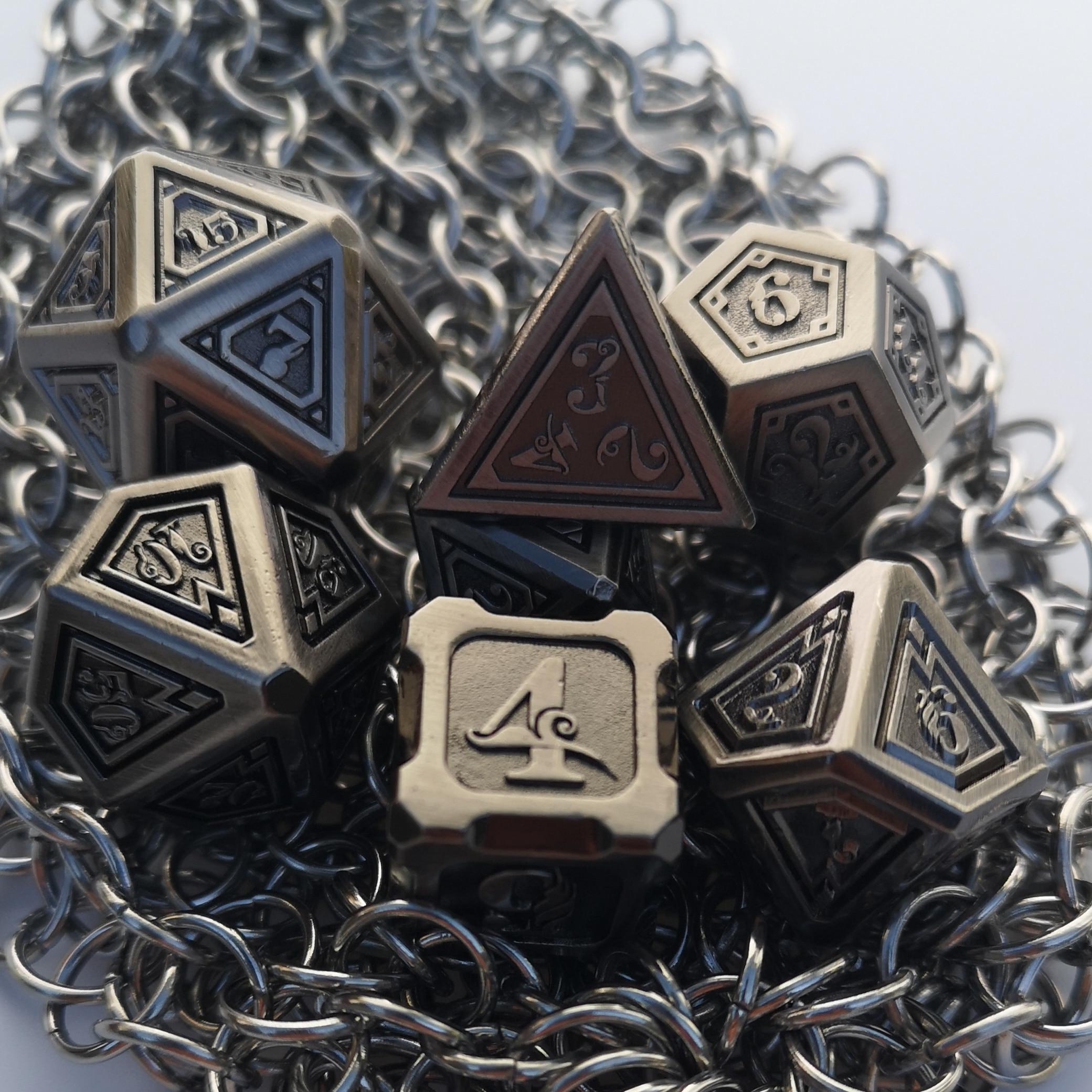 Rollooo DND Metal Dice Antique Copper 7-Die Set With Special Font D4 D6 D8 D10 D% D12 D20 For Role Playing Games