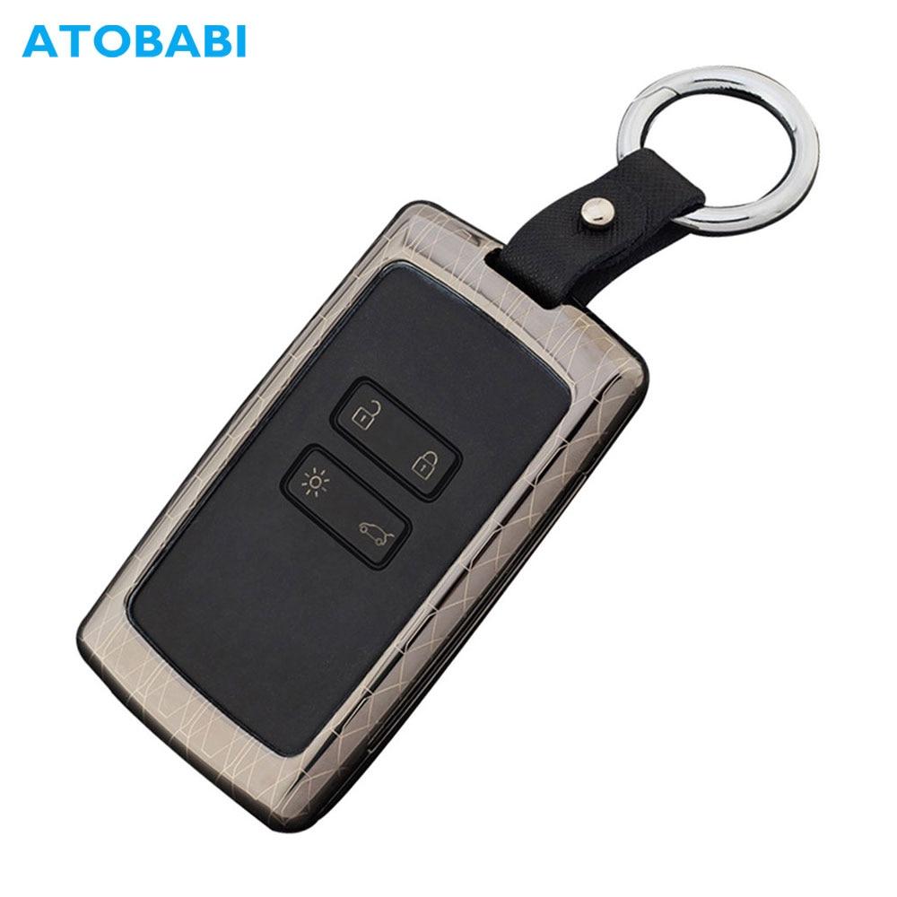 ATOBABI Galvanized Alloy Car Key Cases For Renault Clio Talisman Megane Scenic Kadjar Captur Koleos Smart Remote Fob Shell Cover