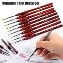 9 pçs/set kit de escova de pintura em miniatura profissional sable cabelo detalhe fino modelo arte ferramentas pintura pincéis pincel caneta